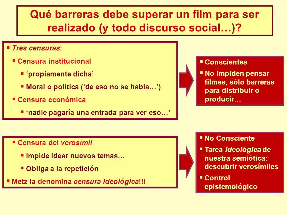 Qué barreras debe superar un film para ser realizado (y todo discurso social…)