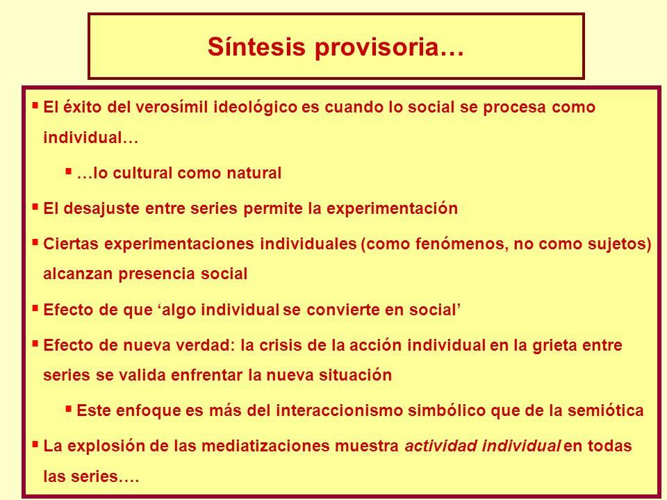 Síntesis provisoria… El éxito del verosímil ideológico es cuando lo social se procesa como individual…