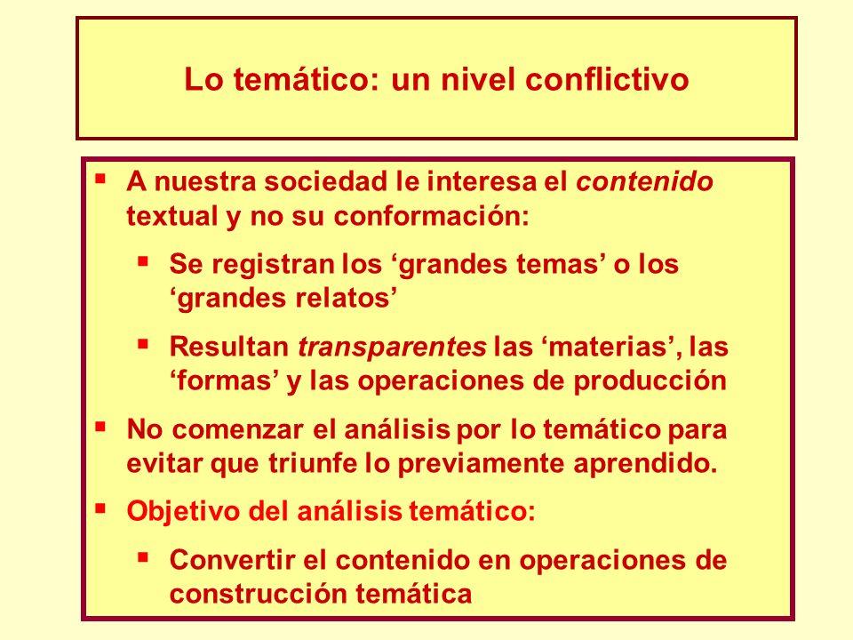 Lo temático: un nivel conflictivo