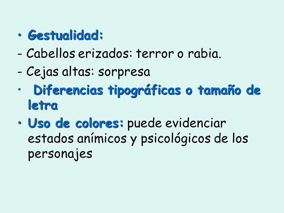 Gestualidad: - Cabellos erizados: terror o rabia. - Cejas altas: sorpresa. Diferencias tipográficas o tamaño de letra.