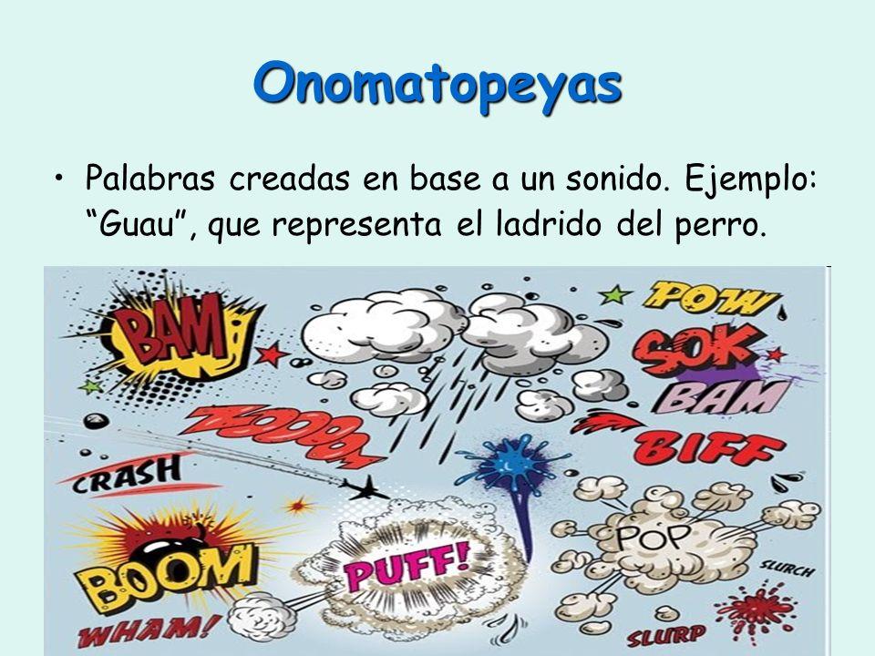 Onomatopeyas Palabras creadas en base a un sonido.