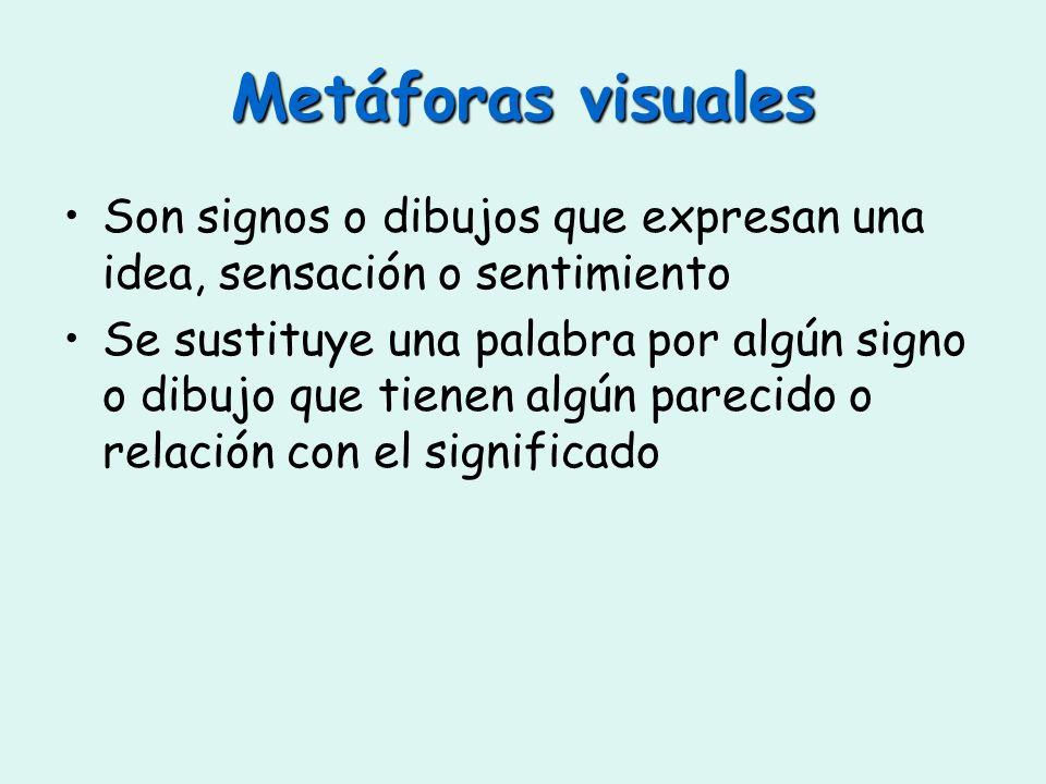 Metáforas visuales Son signos o dibujos que expresan una idea, sensación o sentimiento.