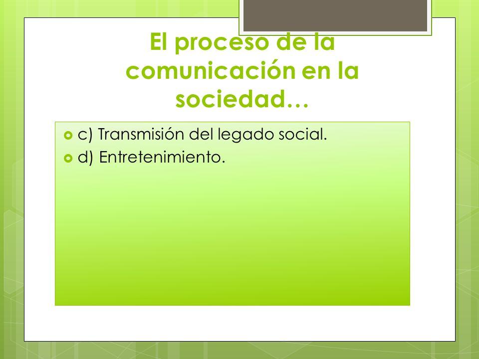 El proceso de la comunicación en la sociedad…