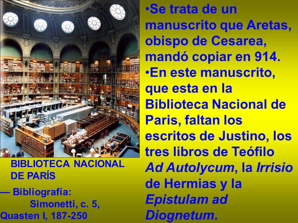 Se trata de un manuscrito que Aretas, obispo de Cesarea, mandó copiar en 914.
