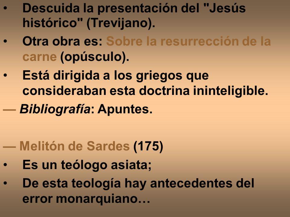 Descuida la presentación del Jesús histórico (Trevijano).
