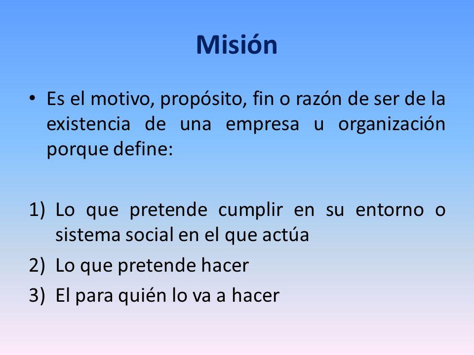 Misión Es el motivo, propósito, fin o razón de ser de la existencia de una empresa u organización porque define: