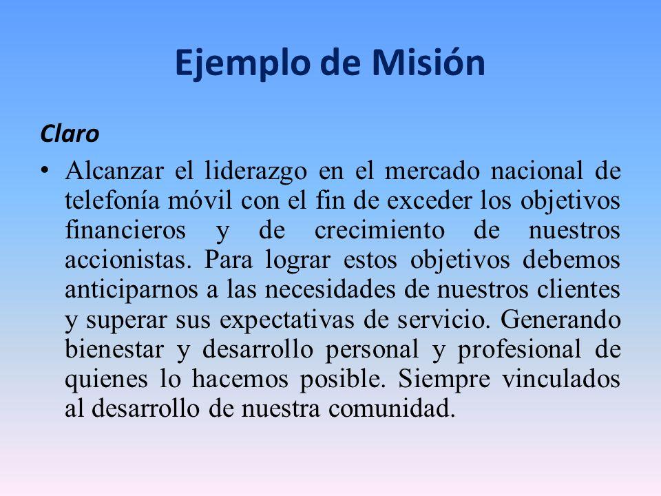Ejemplo de Misión Claro
