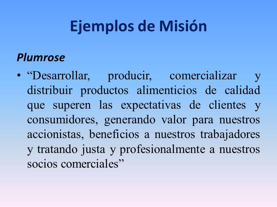 Ejemplos de Misión Plumrose