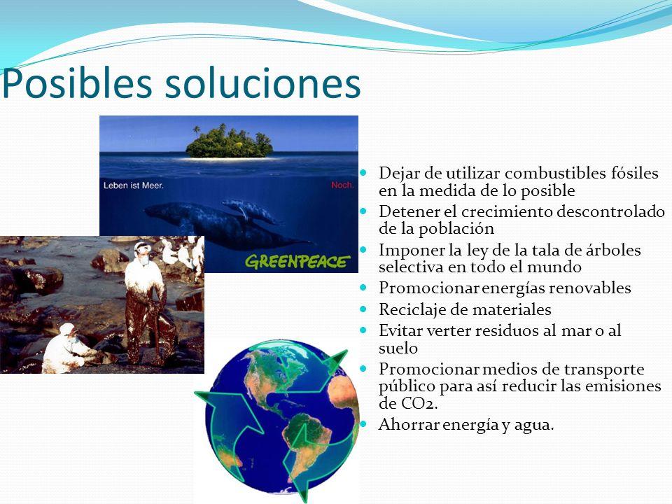 Posibles soluciones Dejar de utilizar combustibles fósiles en la medida de lo posible. Detener el crecimiento descontrolado de la población.