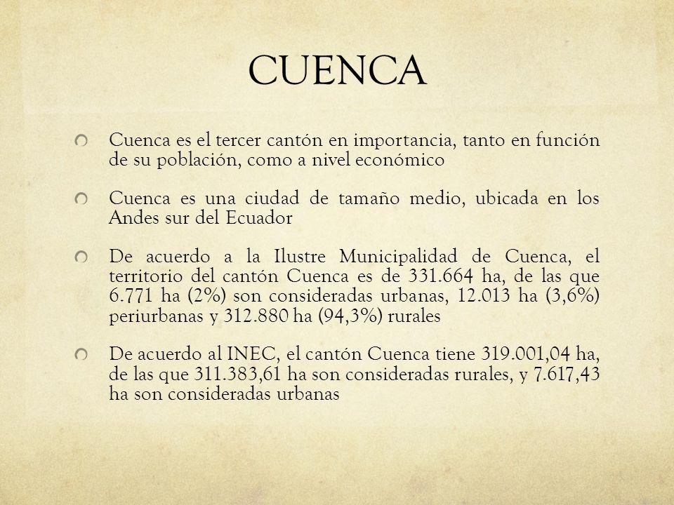 CUENCA Cuenca es el tercer cantón en importancia, tanto en función de su población, como a nivel económico.