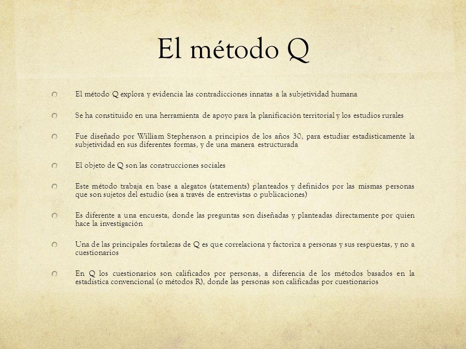 El método Q El método Q explora y evidencia las contradicciones innatas a la subjetividad humana.