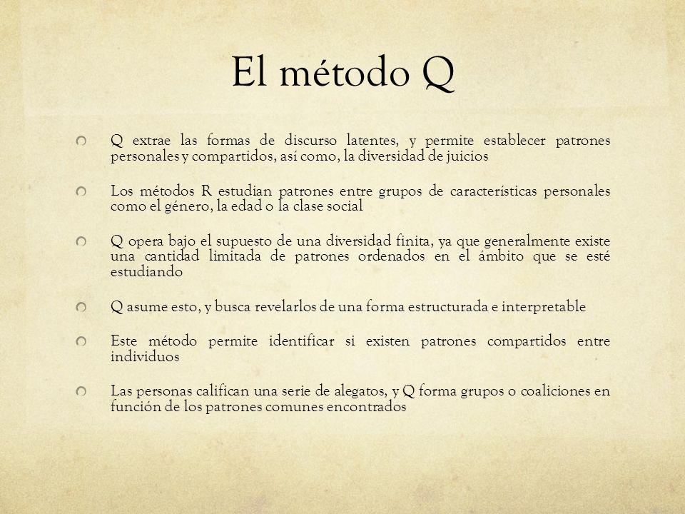 El método Q Q extrae las formas de discurso latentes, y permite establecer patrones personales y compartidos, así como, la diversidad de juicios.