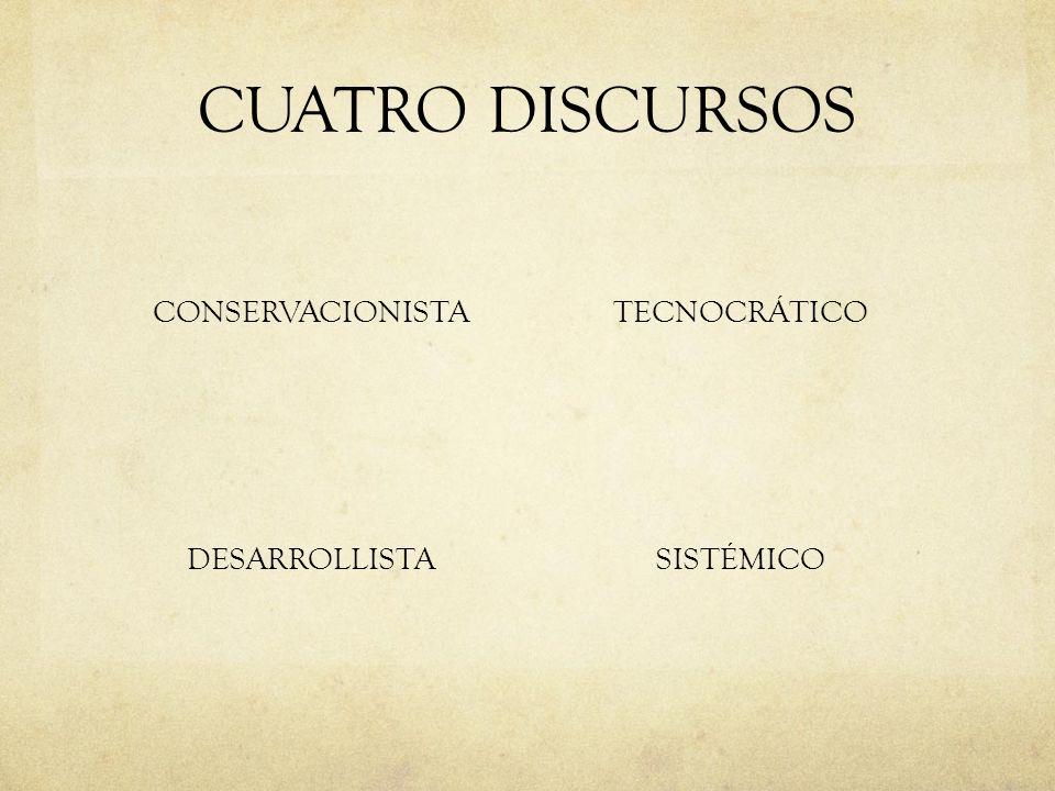 CUATRO DISCURSOS CONSERVACIONISTA TECNOCRÁTICO DESARROLLISTA SISTÉMICO
