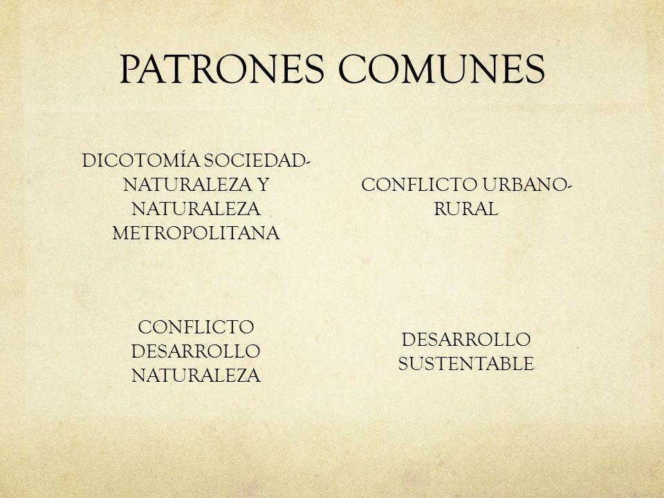 PATRONES COMUNES DICOTOMÍA SOCIEDAD- NATURALEZA Y NATURALEZA METROPOLITANA. CONFLICTO URBANO- RURAL.