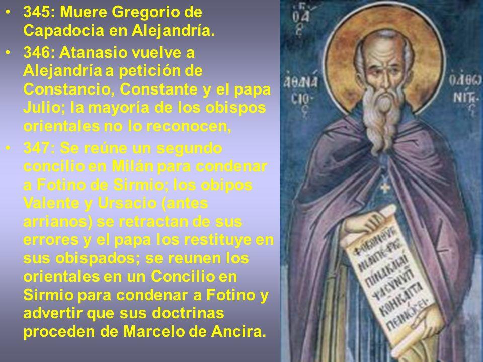 345: Muere Gregorio de Capadocia en Alejandría.