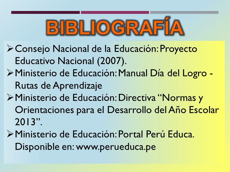 BIBLIOGRAFÍA Consejo Nacional de la Educación: Proyecto Educativo Nacional (2007).