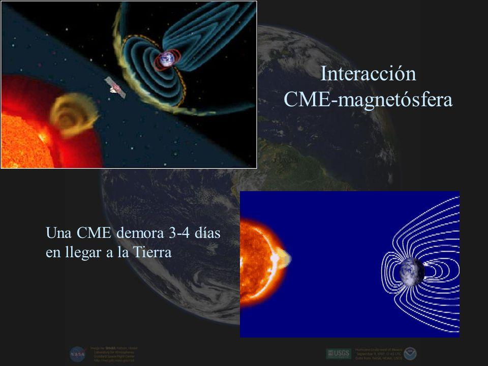 Interacción CME-magnetósfera Una CME demora 3-4 días