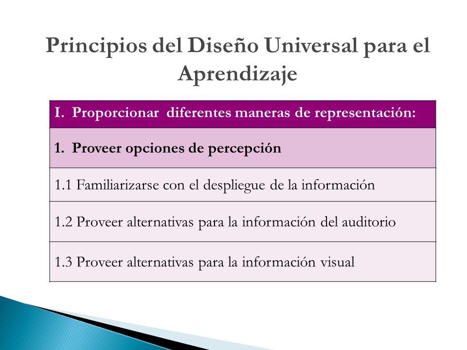 Principios del Diseño Universal para el Aprendizaje