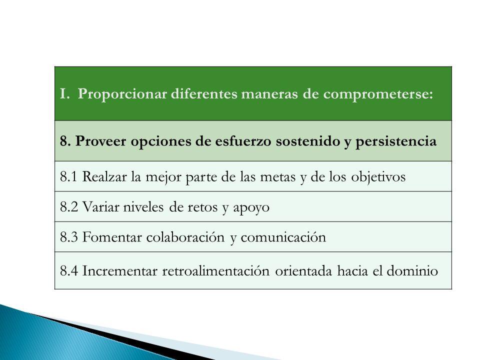 Proporcionar diferentes maneras de comprometerse: