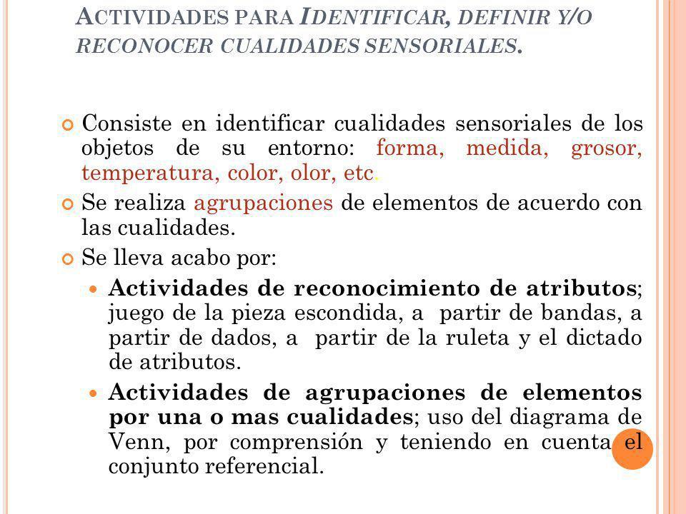 Actividades para Identificar, definir y/o reconocer cualidades sensoriales.