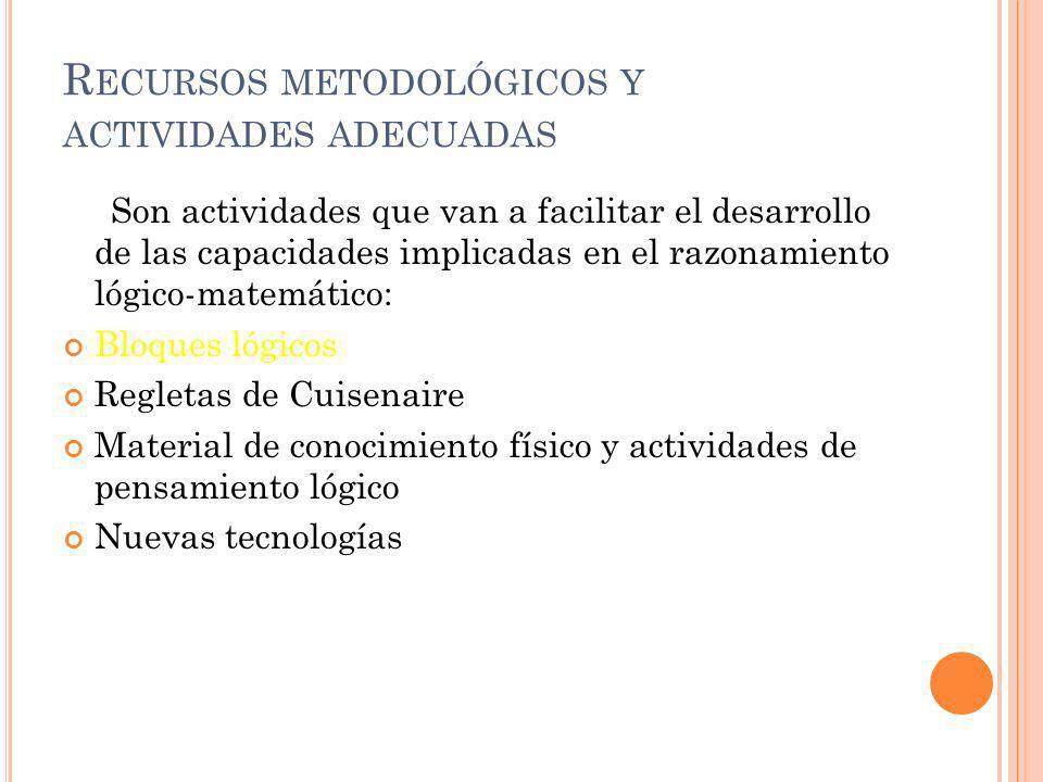 Recursos metodológicos y actividades adecuadas