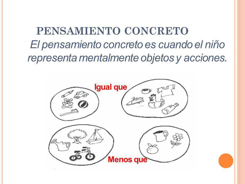 PENSAMIENTO CONCRETO El pensamiento concreto es cuando el niño representa mentalmente objetos y acciones.