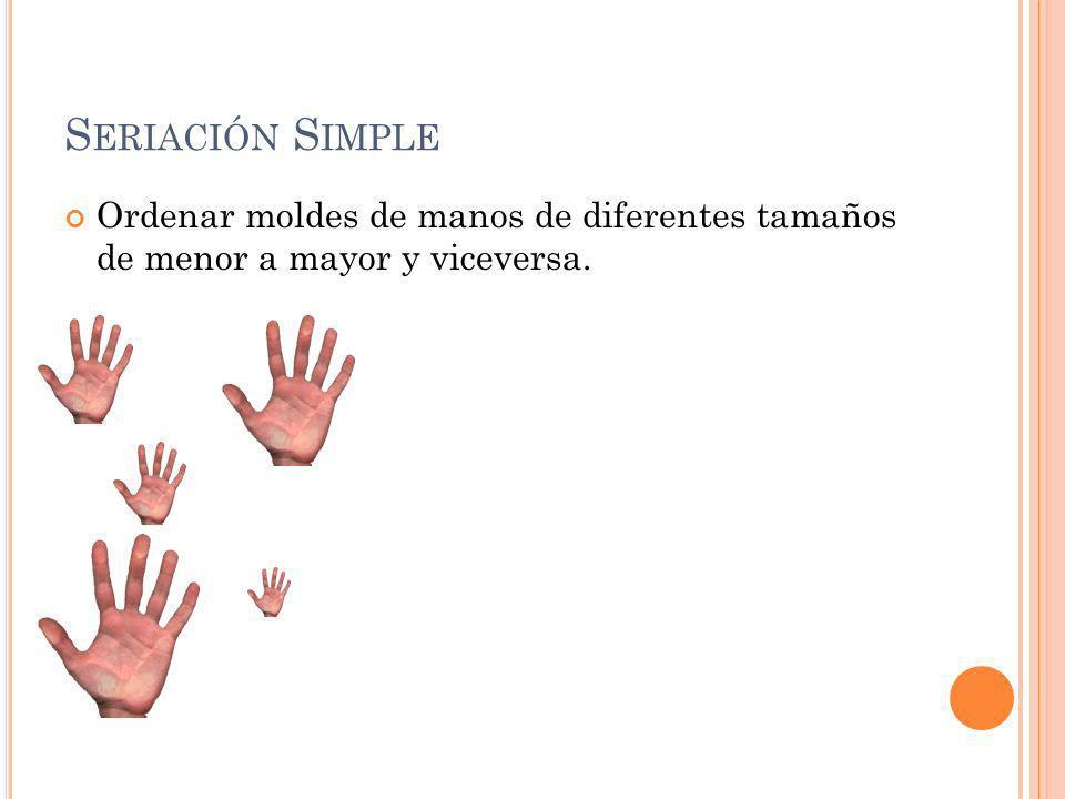 Seriación Simple Ordenar moldes de manos de diferentes tamaños de menor a mayor y viceversa.