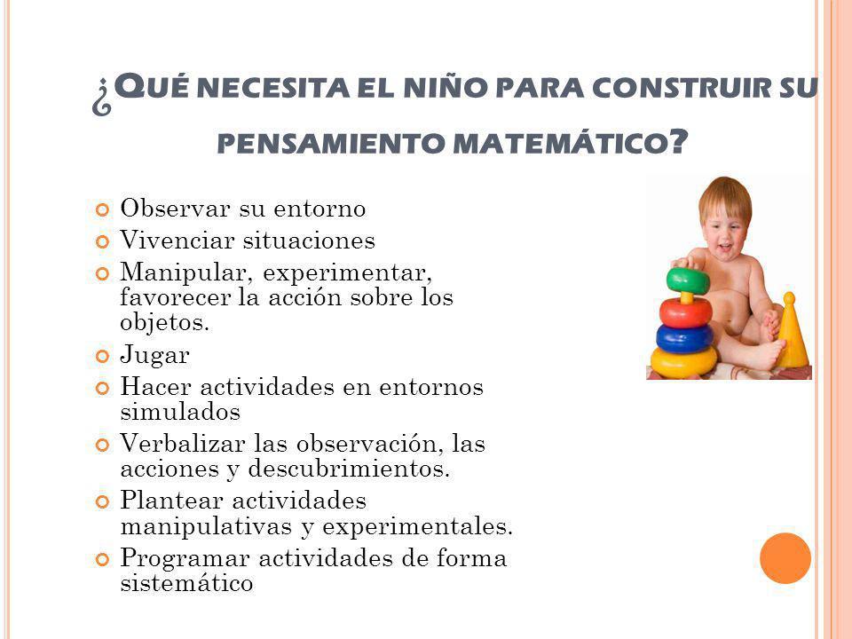 ¿Qué necesita el niño para construir su pensamiento matemático