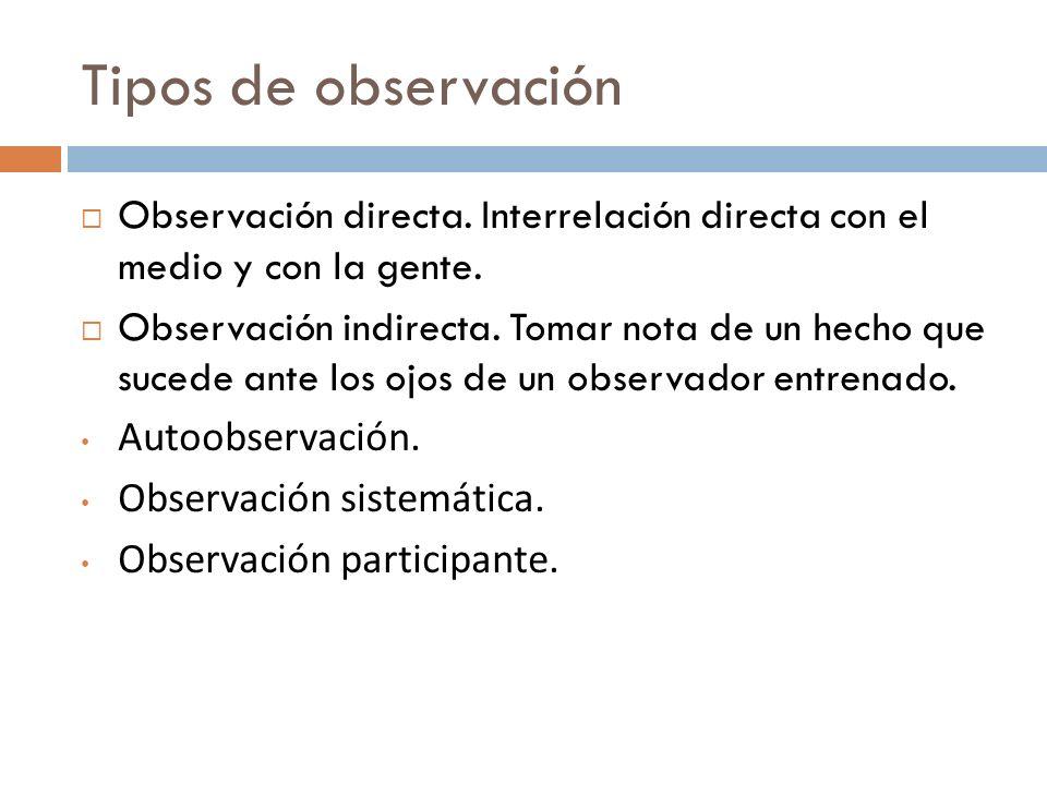 Tipos de observación Observación directa. Interrelación directa con el medio y con la gente.