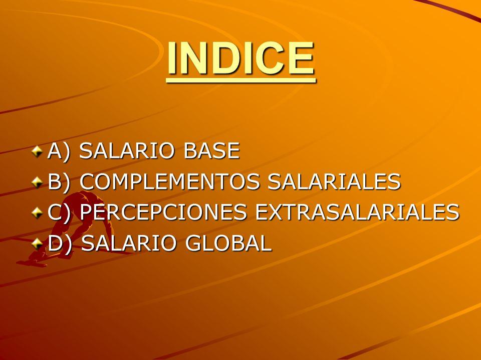 INDICE A) SALARIO BASE B) COMPLEMENTOS SALARIALES