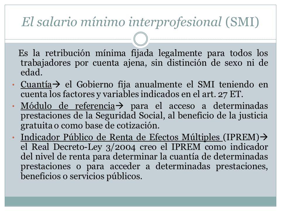 El salario mínimo interprofesional (SMI)