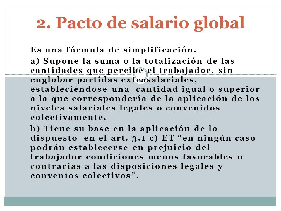 2. Pacto de salario global