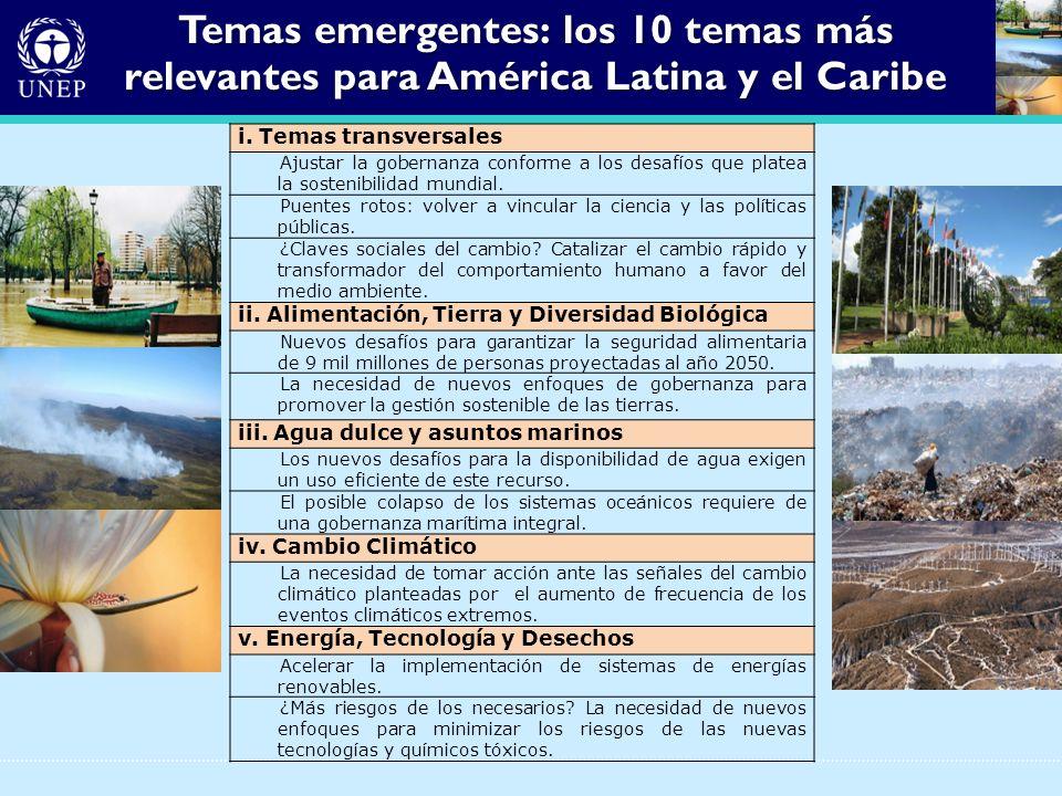 Temas emergentes: los 10 temas más relevantes para América Latina y el Caribe