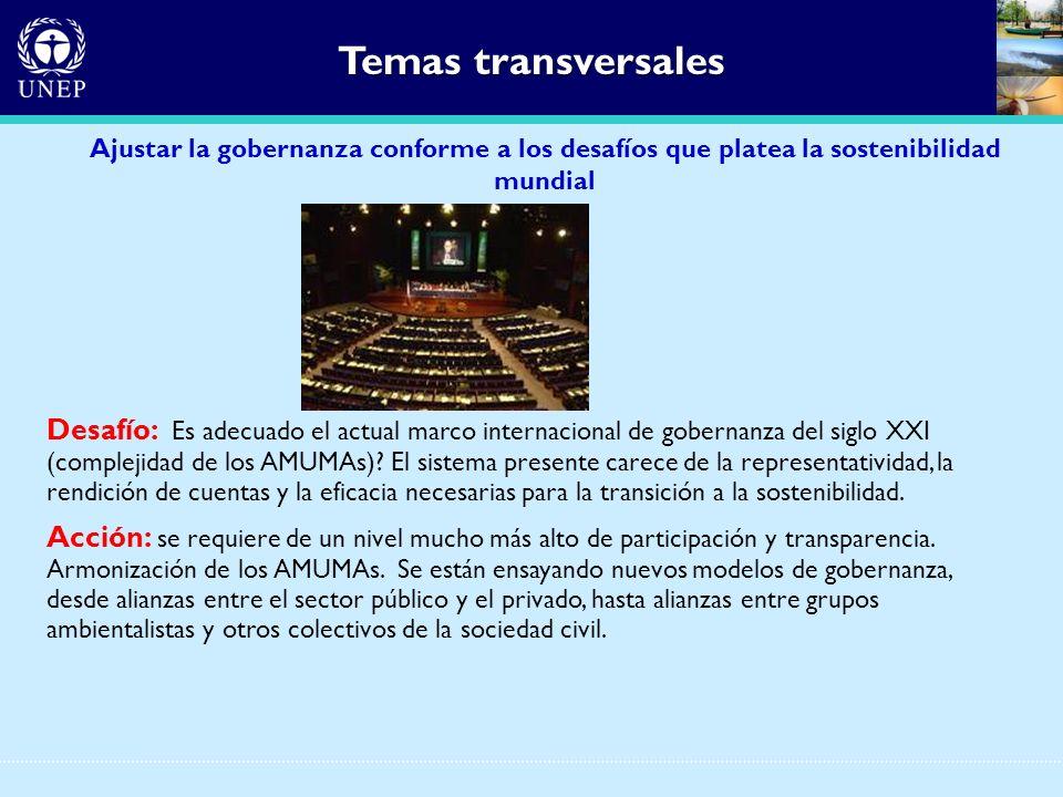 Temas transversales Ajustar la gobernanza conforme a los desafíos que platea la sostenibilidad mundial.