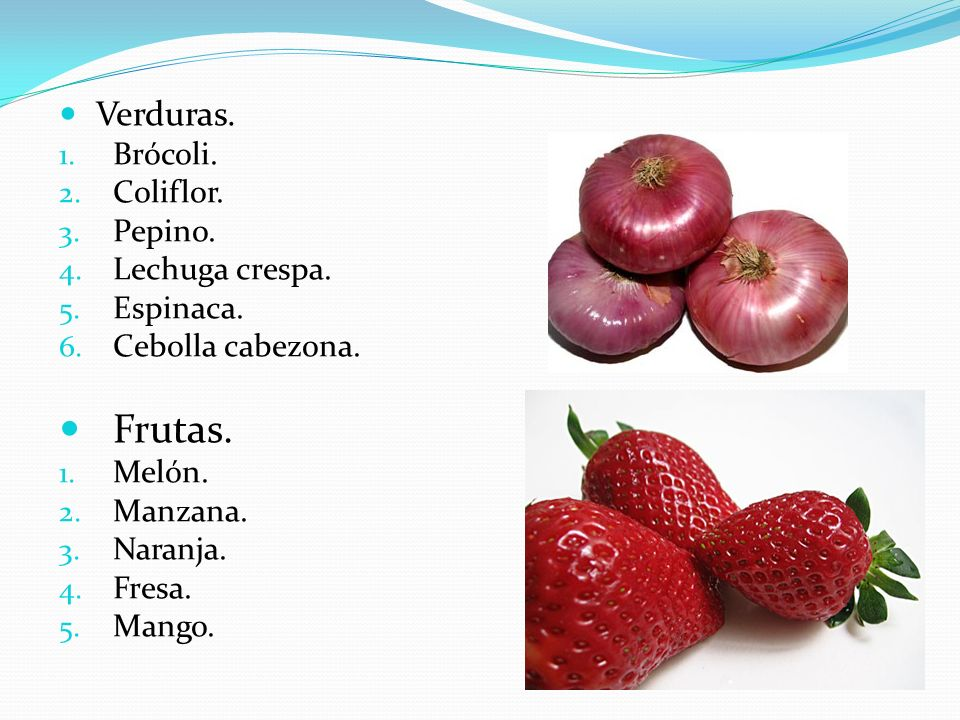 Frutas. Verduras. Brócoli. Coliflor. Pepino. Lechuga crespa. Espinaca.