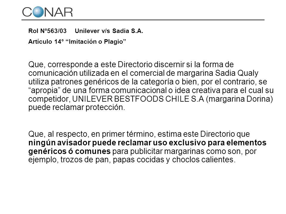 Rol N°563/03 Unilever v/s Sadia S.A.