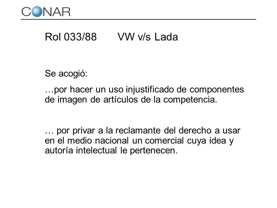 Rol 033/88 VW v/s Lada Se acogió: