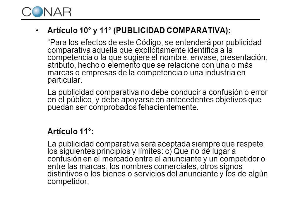 Artículo 10° y 11° (PUBLICIDAD COMPARATIVA):
