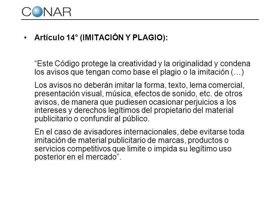 Artículo 14° (IMITACIÓN Y PLAGIO):