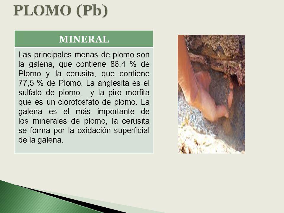 PLOMO (Pb) MINERAL.