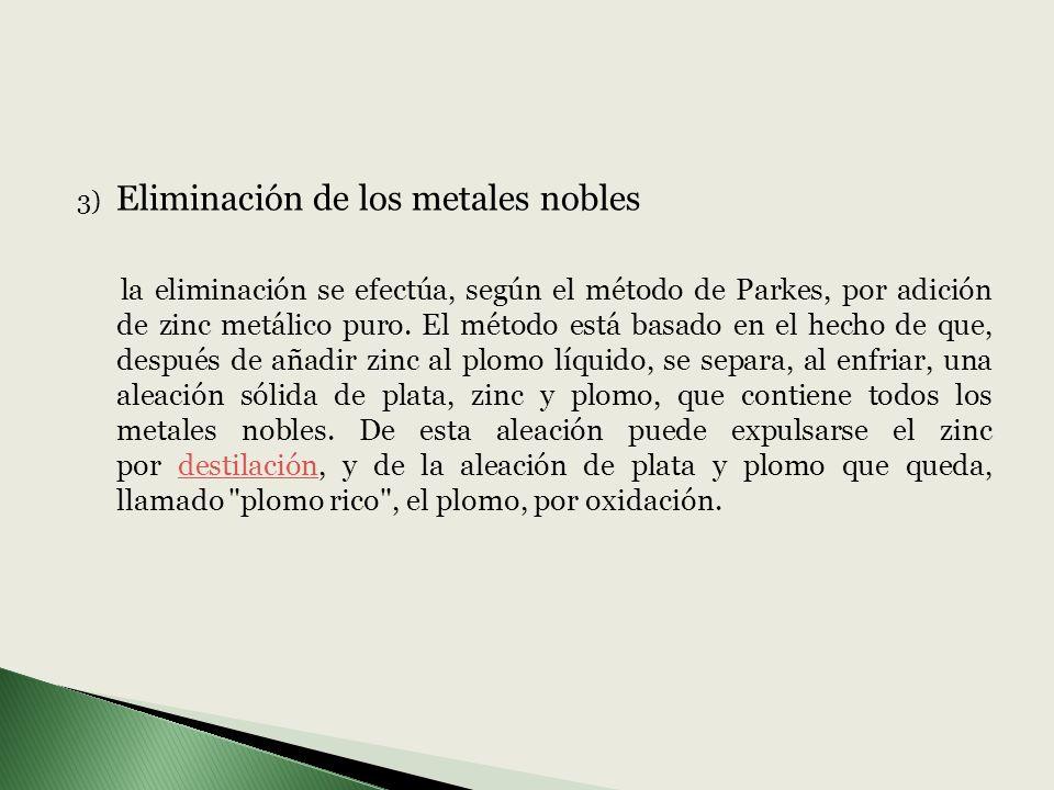 Eliminación de los metales nobles