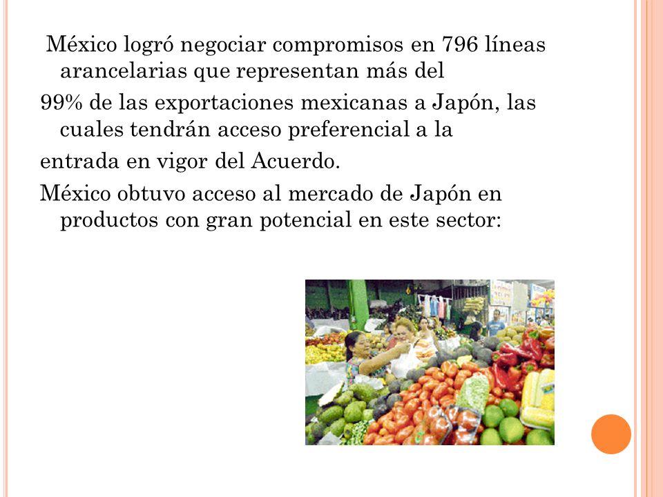 México logró negociar compromisos en 796 líneas arancelarias que representan más del 99% de las exportaciones mexicanas a Japón, las cuales tendrán acceso preferencial a la entrada en vigor del Acuerdo.