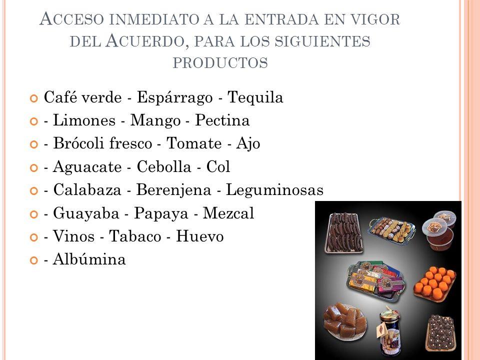 Acceso inmediato a la entrada en vigor del Acuerdo, para los siguientes productos
