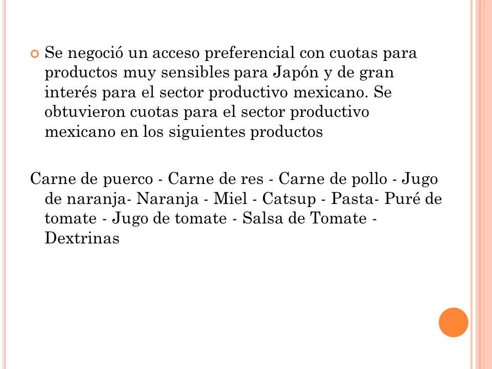Se negoció un acceso preferencial con cuotas para productos muy sensibles para Japón y de gran interés para el sector productivo mexicano. Se obtuvieron cuotas para el sector productivo mexicano en los siguientes productos
