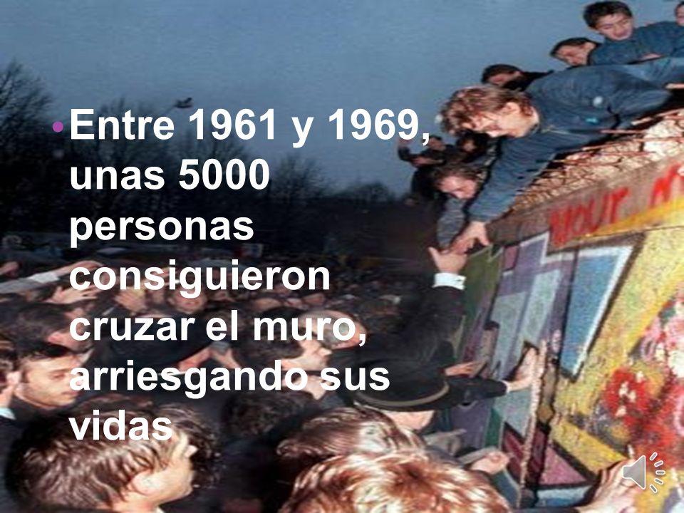 . Entre 1961 y 1969, unas 5000 personas consiguieron cruzar el muro, arriesgando sus vidas