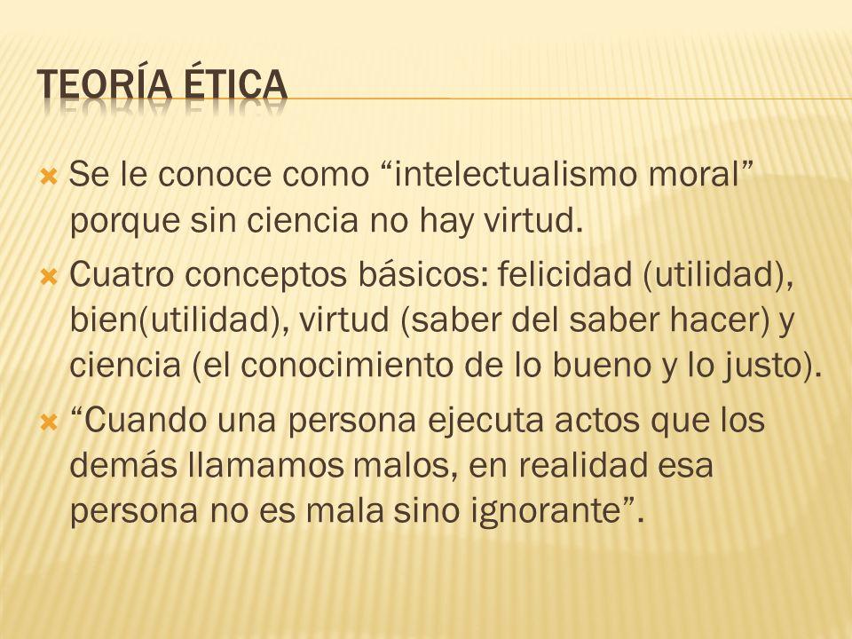 Teoría ética Se le conoce como intelectualismo moral porque sin ciencia no hay virtud.