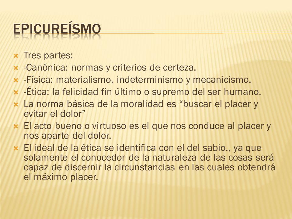 Epicureísmo Tres partes: -Canónica: normas y criterios de certeza.