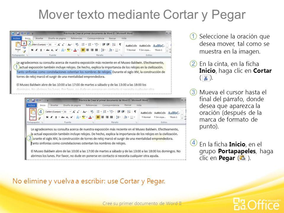 Mover texto mediante Cortar y Pegar
