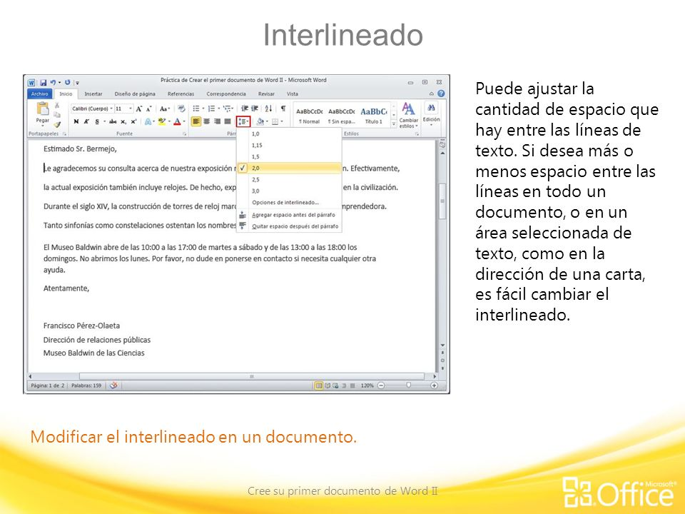 Cree su primer documento de Word II