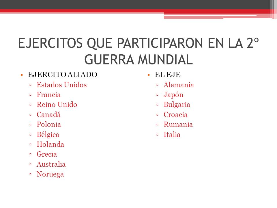 EJERCITOS QUE PARTICIPARON EN LA 2º GUERRA MUNDIAL